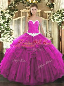 Glittering Fuchsia Ball Gowns Sweetheart Sleeveless Organza Floor Length Lace Up Appliques and Ruffles Ball Gown Prom Dress