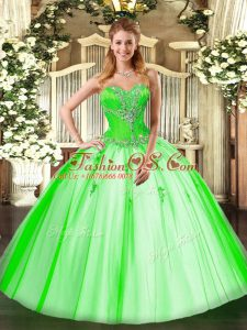 Fantastic Tulle Sleeveless Floor Length Vestidos de Quinceanera and Beading