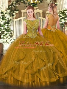Sexy Floor Length Brown Sweet 16 Quinceanera Dress Tulle Sleeveless Beading