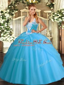 Admirable Aqua Blue Straps Lace Up Beading and Pick Ups Quinceanera Dresses Sleeveless