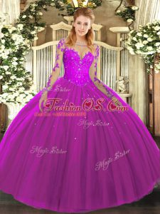 Great Fuchsia Tulle Lace Up Scoop Long Sleeves Floor Length 15 Quinceanera Dress Lace
