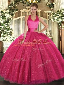 Ball Gowns Vestidos de Quinceanera Hot Pink Halter Top Tulle Sleeveless Floor Length Lace Up