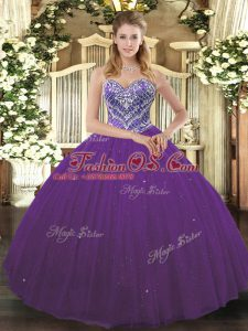 Colorful Purple Sleeveless Floor Length Beading Lace Up Sweet 16 Quinceanera Dress