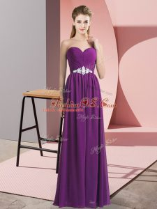 On Sale Floor Length Empire Sleeveless Purple Prom Evening Gown Lace Up