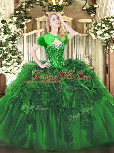 Sweetheart Sleeveless Ball Gown Prom Dress Floor Length Beading and Ruffles Green Organza