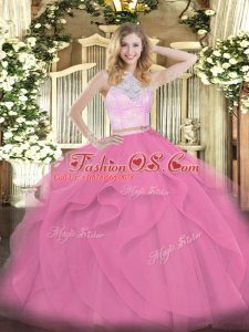 Rose Pink Tulle Zipper Ball Gown Prom Dress Sleeveless Floor Length Lace and Ruffles