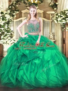 Turquoise Two Pieces Organza Scoop Sleeveless Beading and Ruffles Floor Length Lace Up Ball Gown Prom Dress