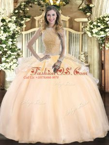 Smart Peach Sleeveless Floor Length Beading Lace Up Quince Ball Gowns
