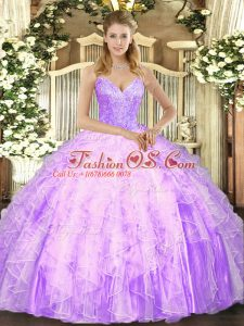 Lilac Ball Gowns Beading and Ruffles Quinceanera Gowns Lace Up Tulle Sleeveless Floor Length