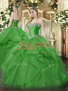 Green Tulle Lace Up Sweetheart Sleeveless Floor Length Sweet 16 Dress Beading and Ruffles
