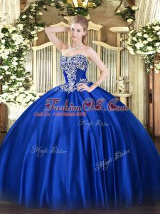 Best Royal Blue Satin Lace Up Strapless Sleeveless Floor Length Quince Ball Gowns Beading