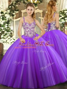 Lavender Ball Gowns Straps Sleeveless Tulle Floor Length Lace Up Beading and Appliques 15th Birthday Dress