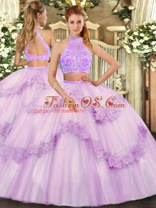 Graceful Sweetheart Sleeveless Tulle Sweet 16 Quinceanera Dress Beading and Lace and Ruffles Criss Cross