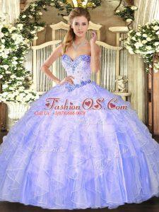 Floor Length Lavender Sweet 16 Dress Sweetheart Sleeveless Lace Up