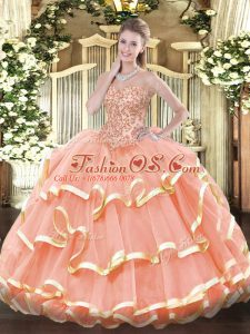 Sleeveless Appliques and Ruffled Layers Lace Up Quinceanera Gowns