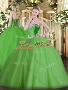 Suitable Sweetheart Sleeveless Ball Gown Prom Dress Brush Train Beading Green Tulle