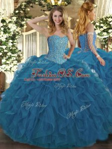 Fabulous Teal Tulle Lace Up Sweetheart Sleeveless Floor Length Quinceanera Dress Beading and Ruffles
