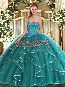 Dramatic Sleeveless Lace Up Floor Length Beading and Ruffles Sweet 16 Dresses