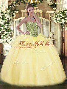 Sweetheart Sleeveless Tulle Quince Ball Gowns Beading and Ruffles Lace Up