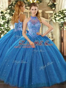 Shining Halter Top Sleeveless Tulle 15th Birthday Dress Beading and Embroidery Lace Up