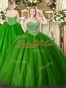 Dazzling Floor Length Ball Gowns Sleeveless Green Quinceanera Gown Lace Up