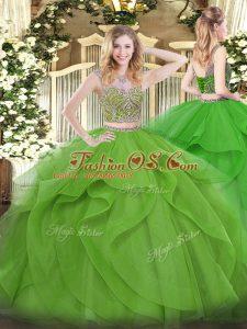 Floor Length 15 Quinceanera Dress Tulle Sleeveless Beading and Ruffles