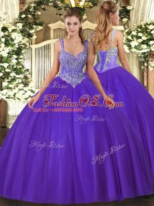 Sleeveless Floor Length Beading Lace Up Sweet 16 Quinceanera Dress with Purple