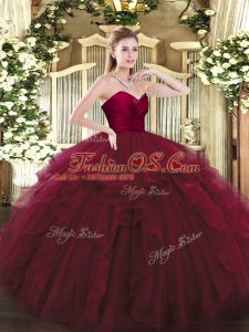 Sleeveless Tulle Floor Length Lace Up Quinceanera Gowns in Wine Red with Ruffles