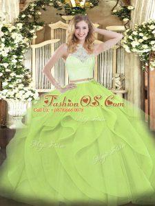 Yellow Green Scoop Neckline Lace and Ruffles Quinceanera Dresses Sleeveless Zipper
