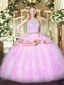 Lilac Zipper Scoop Lace and Ruffles Sweet 16 Dress Tulle Sleeveless