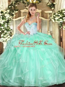 Apple Green Ball Gowns Sweetheart Sleeveless Organza Floor Length Lace Up Beading and Ruffles 15th Birthday Dress