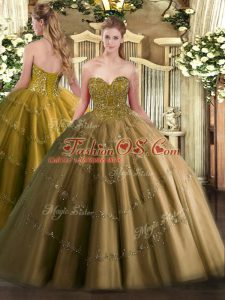 Brown Lace Up Sweetheart Appliques Ball Gown Prom Dress Tulle Sleeveless
