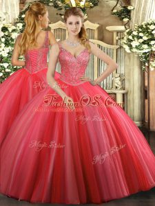Best Coral Red Quinceanera Gowns Military Ball and Sweet 16 and Quinceanera with Beading V-neck Sleeveless Lace Up