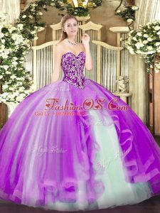 Pretty Sleeveless Floor Length Beading and Ruffles Lace Up Quince Ball Gowns with Lilac
