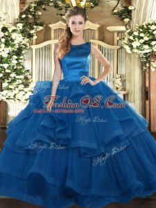 Fantastic Tulle Sleeveless Floor Length Quinceanera Gowns and Ruffles