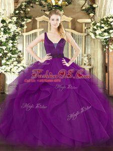 Elegant Floor Length Purple Quinceanera Gown Straps Sleeveless Zipper