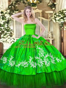 Romantic Vestidos de Quinceanera Military Ball and Sweet 16 and Quinceanera with Embroidery Strapless Sleeveless Zipper