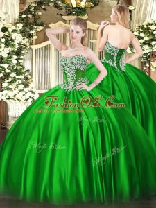 Perfect Sleeveless Satin Floor Length Lace Up Quince Ball Gowns in Green with Beading