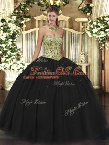 Flirting Ball Gowns Quinceanera Dresses Black Sweetheart Tulle Sleeveless Floor Length Lace Up