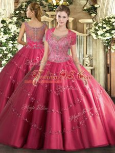 On Sale Sleeveless Tulle Floor Length Clasp Handle 15 Quinceanera Dress in Hot Pink with Beading and Appliques