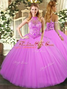 Halter Top Sleeveless Quinceanera Dress Floor Length Beading and Embroidery Lilac Tulle