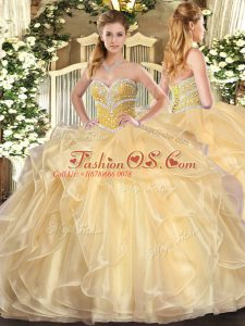 Most Popular Ball Gowns Quince Ball Gowns Champagne Sweetheart Organza Long Sleeves Floor Length Lace Up
