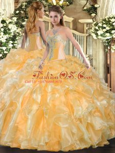 Fantastic Gold Sweetheart Lace Up Beading and Ruffles Quinceanera Gowns Sleeveless