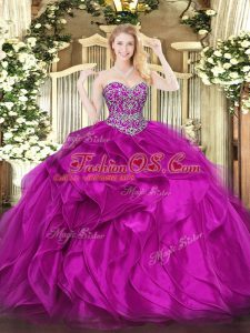 High End Organza Sweetheart Sleeveless Lace Up Beading and Ruffles Ball Gown Prom Dress in Fuchsia