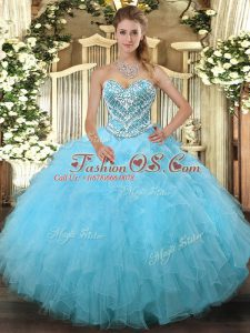 Edgy Aqua Blue Lace Up Sweetheart Beading and Ruffles 15 Quinceanera Dress Tulle Sleeveless
