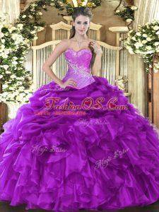 Stunning Eggplant Purple Ball Gowns Sweetheart Sleeveless Organza Floor Length Lace Up Beading and Ruffles and Pick Ups Sweet 16 Dresses