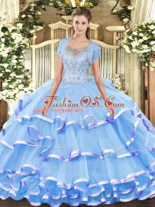 New Style Tulle Sleeveless Floor Length Quinceanera Dresses and Beading and Ruffled Layers
