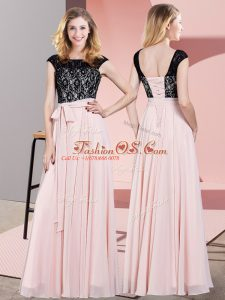 Scoop Sleeveless Lace Up Prom Gown Baby Pink Chiffon