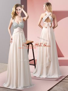 Trendy Champagne Empire Beading Casual Dresses Criss Cross Chiffon Sleeveless Floor Length