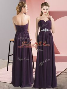 Sweetheart Sleeveless Prom Gown Floor Length Beading Dark Purple Chiffon